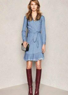 Джинсовое платье-халат