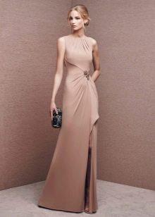 Платье из джерси бежевое в пол