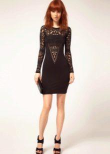 Платье из джерси с кружевными вставками