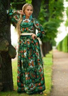 Платье из платков зеленое