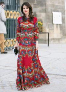 Платье из павлопосадских платков закрытое
