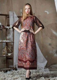 Платье из павлопосадских платков с прозрачными рукавами