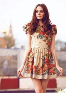 Платье из платков короткое а-силуэта