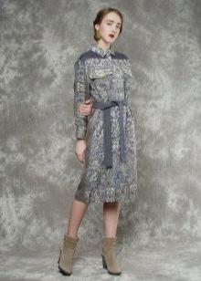 Платье из павлопосадских платков серое