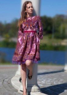 Платье из павлопосадских платков лиловое