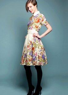 Платье из платков с воротником