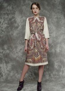 Платье из павлопосадских платков с рукавами
