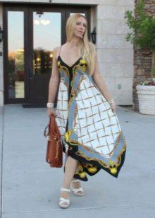 пример платья из павлопосадских платков своими руками
