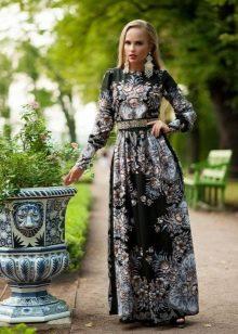 Платье из платков черное