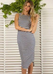 Трикотажное полосатое платье-майка