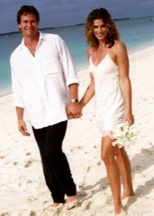 Короткое свадебное платье-майка