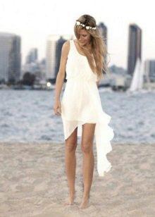 Свадебное платье-майка с асимметричным подолом