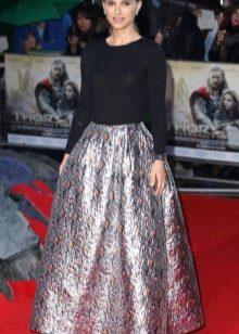 Двухцветное платье с юбкой колокол