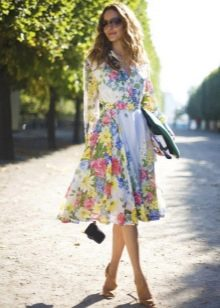 Шифоновое платье в цветок с юбкой солнце