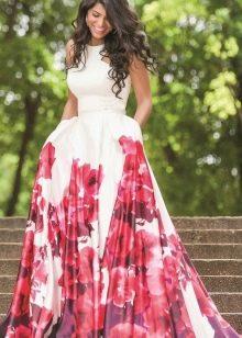 Длинное летнее платье с юбкой солнце
