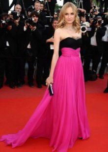 Длинное в пол платье с розовой юбкой солнце и черным топом-бюстье