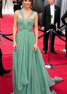 Длинное зеленое платье с юбкой солнце
