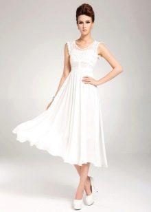 Юелое миди платье с юбкой солнце