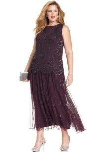 Длинное платье с заниженной талией для полных