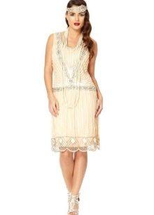 Белое миди платье-чарльстон с заниженной талией
