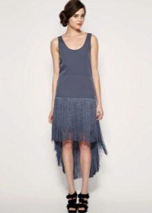 Синее асимметричное платье-чарльстон с заниженной талией