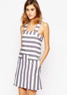 Короткое полосатое летнее платье-сарафан