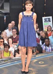 Синее короткое платье-сарафан
