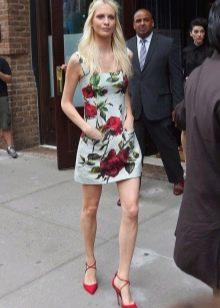 Короткое платье-сарафан с цветочным принтом