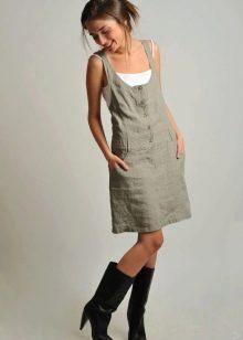 Льняное повседневное платье-сарафан