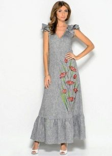 Серое длинное льняное платье-сарафан