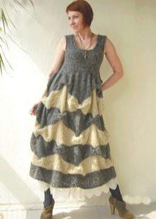 Длинное теплое вязаное платье-сарафан