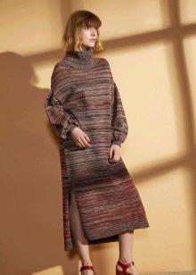 Шерстяное платье вязаное меланж