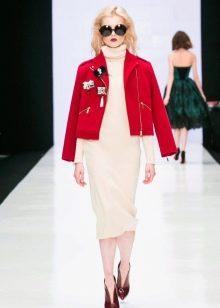 Шерстяное платье с курткой