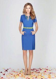 Голубое шерстяное платье