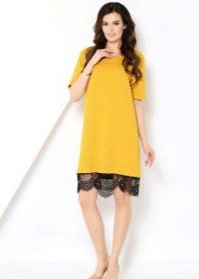 Желтое шерстяное платье