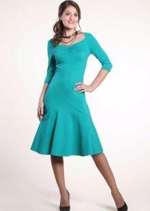 Бирюзовое шерстяное платье