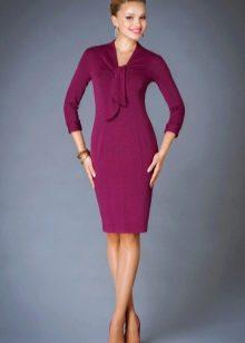 Шерстяное платье фиолетовое
