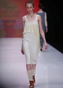 Шерстяное платье-майка вязаное