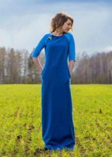 Шерстяное платье в пол синее