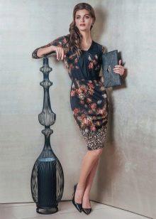 Шерстяное платье с принтом короткое