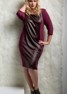 Шерстяное платье для полных с кожей