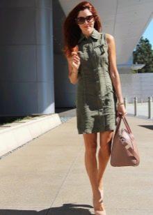 Платье в стиле милитари из денима цвета хаки