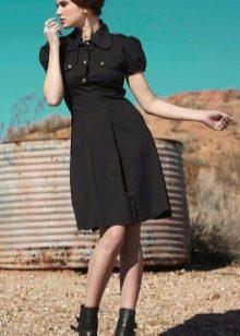Хлопчатобумажное черное платье в стиле милитари