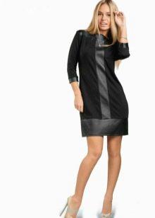 Платье трикотажное со вставками из экокожи