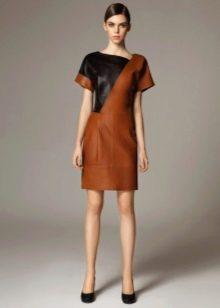 Платье из экокожи коричневое с черной вставкой