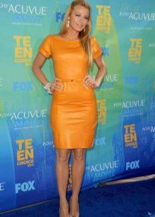Платье из экокожи желтое