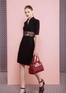 Платье из крепдешина прямое черное