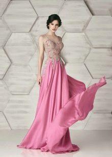 Платье из крепдешина вечернее со стразами