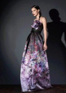 Платье из крепдешина вечернее с принтом