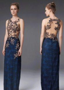 Платье вечернее с открытой спиной декорированное узором